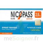 NICOPASS MENTHE FRAICHEUR 2,5 mg SANS SUCRE, pastille édulcorée à l'aspartam et à l'acésulfame potassique à Poitiers